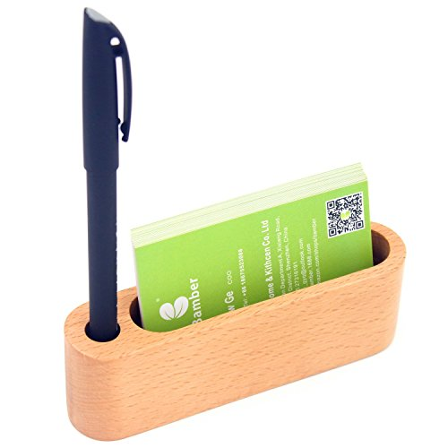 Bamber Wood Business Card Holder Desk, Business Card Case for Men and Women, Business Card Stand and Protector, Slim Design