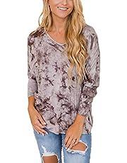 FARORO Women's Tie Dye Tunic Round Neck Long Sleeve Shirts Pullover Causal Blouses Tops Trendy Tee