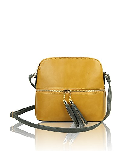 Women's Redfox Shoulder Mustard Small Messenger nbsp;Elegant Crossbody Bag Tassel Zip zqSWYcqv