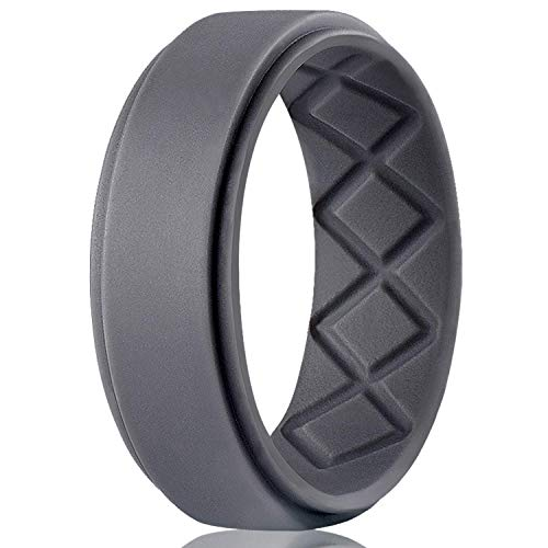 Egnaro Silicone Wedding Ring for Men, Breathable Mens' Rubber Wedding Bands, Size 8 9 10 11 12 13, for Crossfit Workout]()