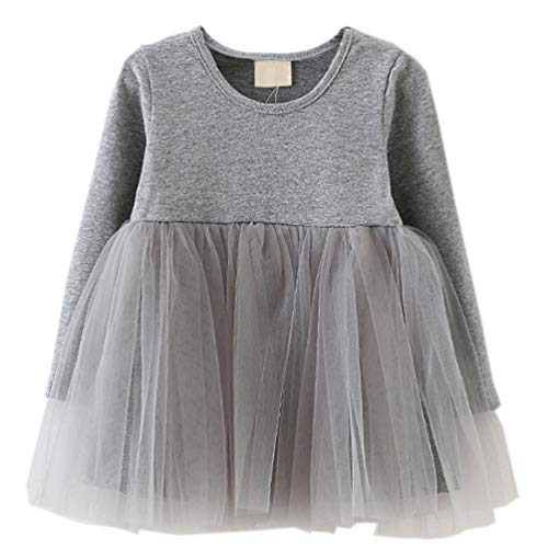 Baby Holiday Dresses (LYXIOF Baby Girls Toddler Tutu Dress Long Sleeve Princess Dress Infant Tulle Dress 2-Grey 9)