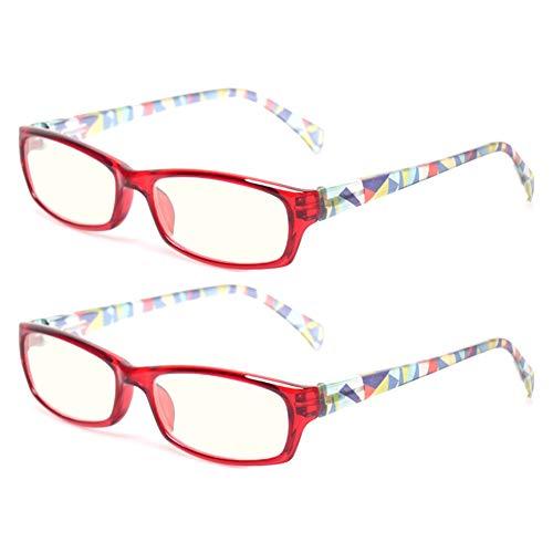 2 Pair Computer Glasses - Anti-blue glasses - Blue Light Blocking Reading Glasses for Women (2 Pack Red, 4.00)