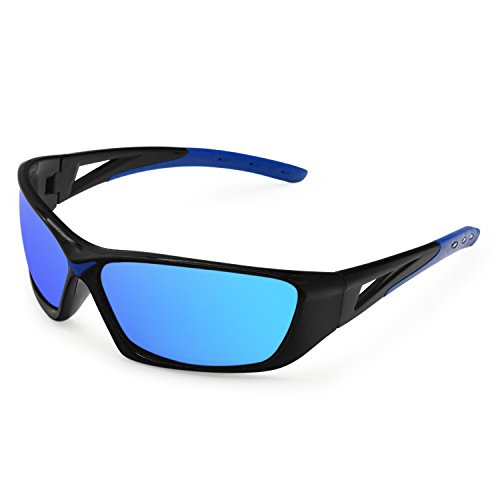 AMZTM Reflective Cycling Polarized Sunglasses For Men and Women HD Vision Fashion Mirrored Goggles Sports Shades for Outdoor Riding Running Fishing Windproof (Black Frame Ice Blue Lens) -