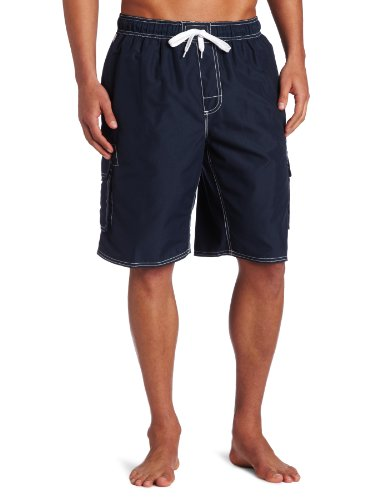 (Kanu Surf Men's Barracuda Swim Trunks (Regular & Extended Sizes), Navy, Large)