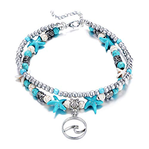 - Fesciory Women Starfish Turtle Anklet Multilayer Adjustable Beach Alloy Ankle Foot Chain Bracelet Boho Beads Jewelry(Wave)