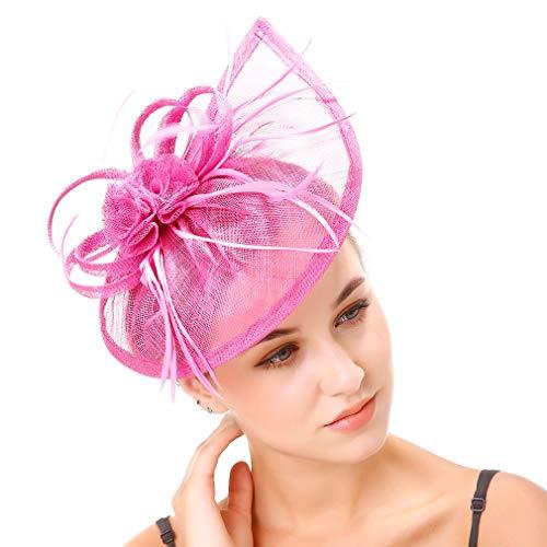 JK Home Fascinators Hat for Women Tea Party Headband Derby Wedding Cocktail Flower Mesh Feathers Hair Clip Rose
