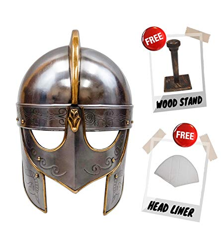 Medieval Viking Crusader Helmet Warrior Armor Knight Adult Costume Functional (Without -