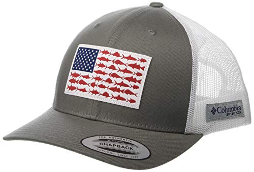 Columbia Unisex Pfg Mesh Snap Back Fish Flag Ball Cap, Titanium, White, One Size ()