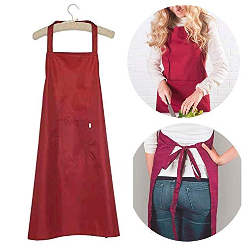 (K Y KANGYUN Wash Dishes Waterproof Kitchen Chef Wine Bib Apron with Pocket and Extra Long Ties, Commercial Men & Women Bib Apron for Cooking, Baking, Crafting, Work Shop, Red)