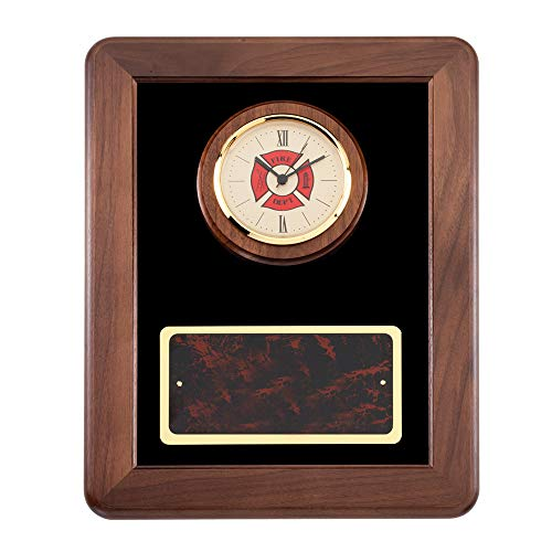 Firefighter Award Plaques (Customizable 12 X 15 Inch Genuine Walnut Fire Fighter Clock Plaque, Includes Personalization)