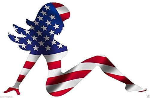 (MUDFLAP GIRL AMERICAN USA FLAG TRUCKER GIRL HARD HAT STICKER LAPTOP STICKER TOOLBOX STICKER HELMET STICKER WINDOW STICKER)