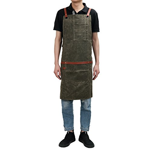 QEES Heavy Duty Waxed Canvas Workman Apron Large Pockets Utility Work Apron for Engineers Carpenter Handymen Fit Kitchen, Garden, Pottery, Craft Workshop, Garage WQ32 by QEES