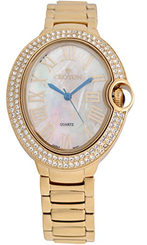 Croton Ladies Goldtone Quartz Watch with Crystal Bezel & Mother of Pearl Dial - CN207566YLMP (Croton Crystal Bezel)