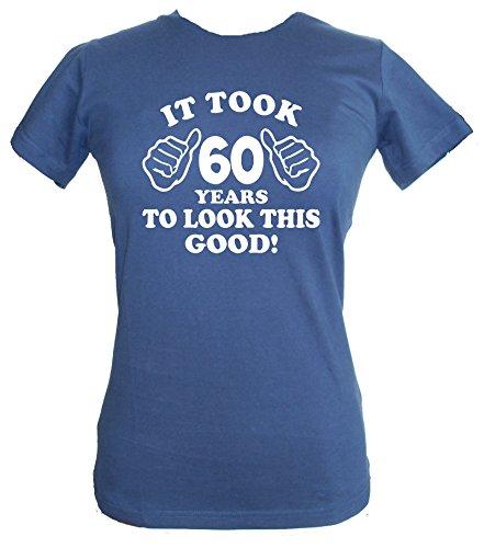 IT fruto de 60 años good para parecerse a esta ' para mujer 60th con texto en inglés y sábana bajera para cama de T-de manga corta de mujer azul marino