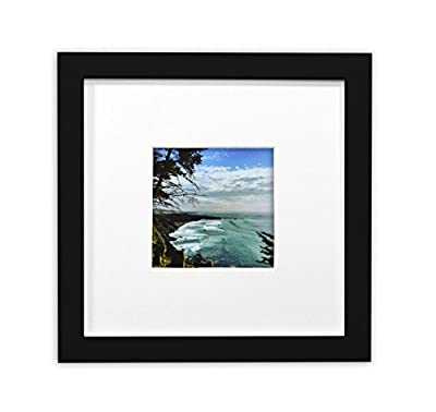 Golden State Art Smartphone Instagram Frames Collection,8x8-inch Square Photo Wood Frames with White Photo Mat & Real Glass for 4x4 Photo, White or Black