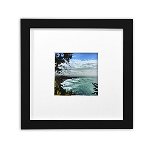 Golden State Art, Smartphone Instagram Frames Collection, 8x8-inch Square Photo Wood Frame with White Photo Mat & Real Glass for 4x4 photo, Black