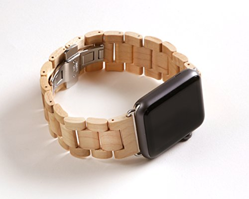 KoolBands Unique Luxury Handmade Wooden Watch Band With 2 Extra Wood Links And Tool For 42mm Apple Watch 1 And Apple Watch 2 (Maple)
