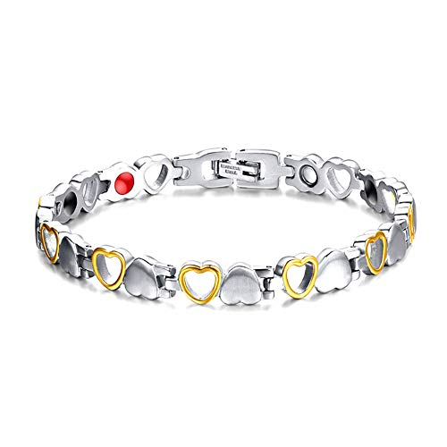 ZSML Magnetic Therapy Bracelets Titanium Heart Design Magnetic Health Bracelet for Women Pain Relief for Arthritis Women Jewellry Gifts
