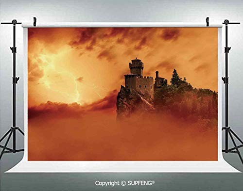 Photography Background Fantastic Ancient Castle Over The Cliffs with Lightning Storm Fog Scary Mystery Image 3D Backdrops for Photography Backdrop Photo Background Studio Prop]()