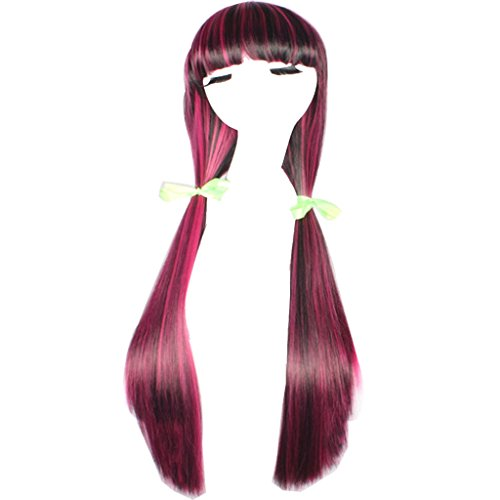 WeKen Women Halloween Wigs Long Straight Full Bangs Synthetic Black with (Black And Pink Wig)