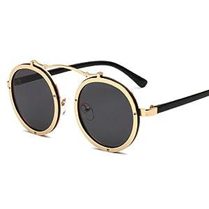 sunglasses new round glasses glasses tide Street beat sunglasses,C3 Gold - Grey