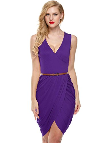 ELESOL Women Sleeveless Deep V Neck Mini Dress Tie Waist Sheath Dress Purple L
