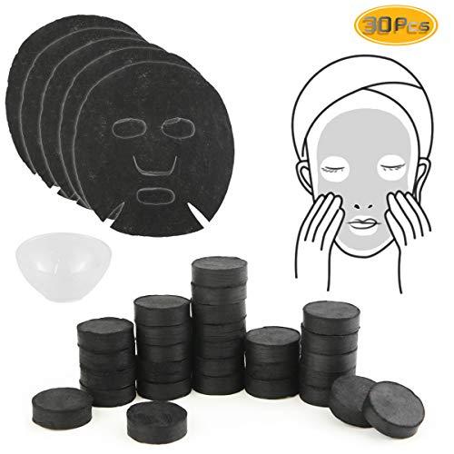 Oruuum 30 Pcs Bamboo Charcoal Compressed Mask Paper, DIY Mask Tool, One-Time Ultra-Thin Moisturizing Mask ()