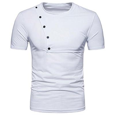 GREFER Men's Summer Button Splice Casual Slim Zipper Short Sleeve T Shirt Top Blouse