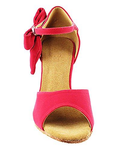 Very Fine Ballroom Latin Tango Salsa Dance Zapatos Para Mujeres Sera7010 2.5-inch Heel + Foldable Brush Bundle Peach