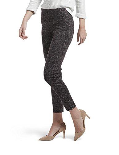 (HUE Women's Loafer Skimmer Legging, Assorted, Ankle Zip Brocade - Beet Red, M)