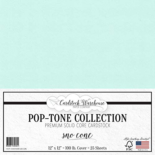 SNO Cone Blue Cardstock Paper - 12 x 12 inch 100 lb. Heavyweight Cover - 25 Sheets from Cardstock Warehouse