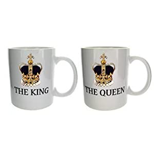 King and queen set of couple novelty mugs mugsnkisses for Bride kitchen queen set