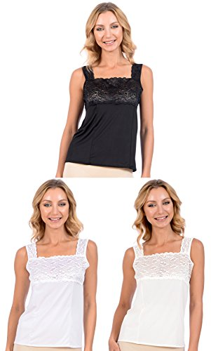 Patricia Lingerie Women's Soft Stretch Camisole with Lace Trim 3 Pack (Black/White/Nude, S) (Underwire Camisole Stretch)