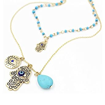 Amazon onairmall womens hamsa necklace fatima hand of god lucky amazon onairmall womens hamsa necklace fatima hand of god luckyevil eye charm layered pendant necklace clothing mozeypictures