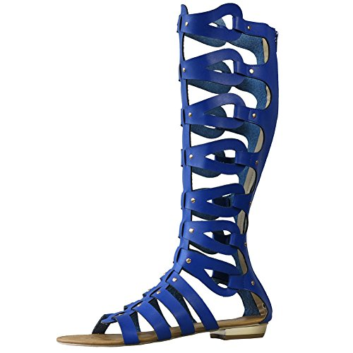Gladiator Tag UK Out Boots Cut 39 Womens Flat 5 Blue 6 Sandals Knee Size wXZx8F