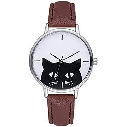 Reloj de las Señoras Reloj Mujer Lujo Casual Caja de acero Cuero Gato Reloj Reloj de cuarzo (Color : 5)