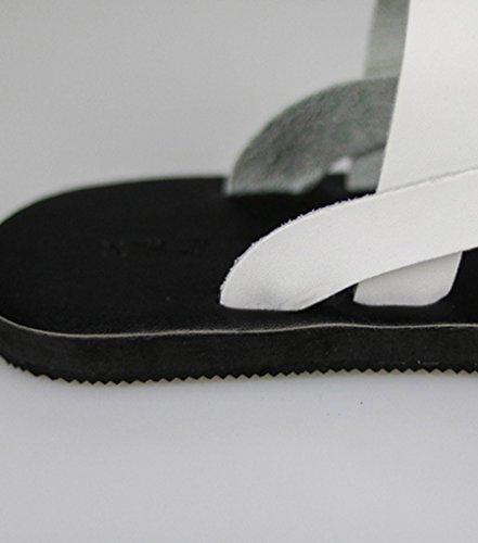 Sentao Unisex Chanclas Cuero de la PU Zapatos Playa Sandalias Flip Flop Blanco
