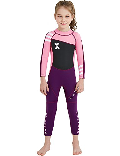 DIVE & SAIL 2.5mm Neoprene Pretty Design Sun Protection Girls Wetsuit For Swimming Keep Warm(Pink,XL) ()