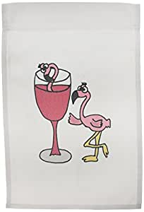 3dRose fl_196252_1 Funny Pink Flamingo Next to Red Wine Glass Garden Flag, 12 by 18-Inch