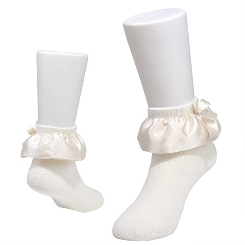 Epeius Kids Girls Bow Satin Lace Socks Gift Box 5 Pair Pack Off White/Skin Pink/Black/Coffee/Navy Blue for 2-4 Years by EPEIUS (Image #3)