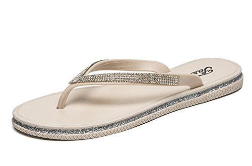 Zapatillas Lady 39 al Antideslizante Cool Suave Summer Chanclas Aire Beige Suela Plástico Rhinestone NVXIE Libre Fashion 36 ZXtpzxnZOw