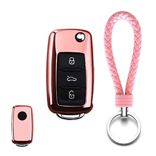 Thor-Ind TPU Folding Key Fob Skin Case Cover with KeychainKey Holder Key Shell Protector for Volkswagen VW Passat Golf Jetta Bora Polo Sagitar Tiguan & Skoda Octavia (TPU-Pink)