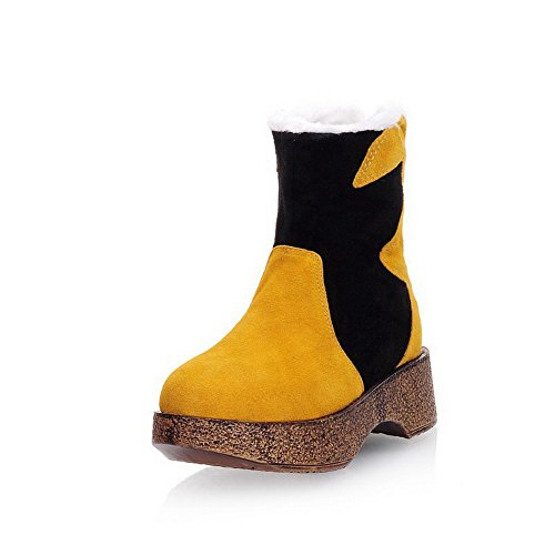 AmoonyFashion Womens Mixed Material Frosted Round Closed Toe Low-Top Kitten-Heels Boots Yellow NAYZfX