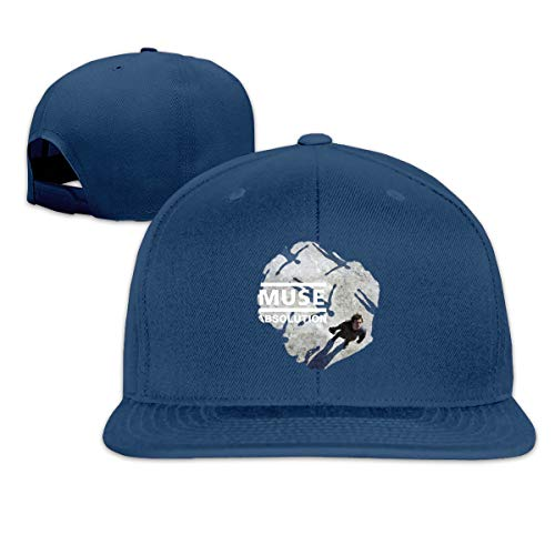 Unisex Woman's Man Muse Music Band Cotton Adjustable Flat-Brimmed Cap Navy