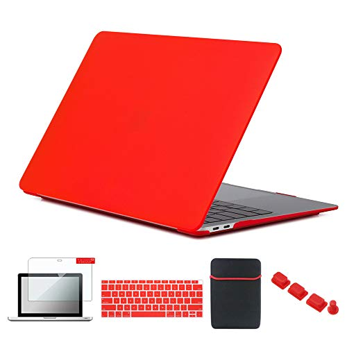 Se7enline 2018/2019 MacBook Air 13 Inch Case Hard Shell Cover for MacBook Air 13-Inch with Retina Display Touch ID New Model A1932 with Sleeve Bag, Keyboard Cover, Screen Protector, Dust Plug, Red
