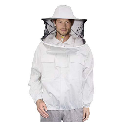 Luwint Ventilated Beekeeping Jacket - Professional Cotton Beekeeper Jacket Beekeeping Suit with Removeable Round Veil Hood for Beekeeper Men Women -