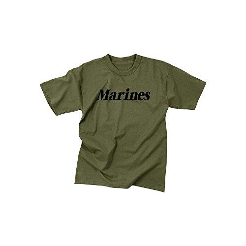 Rothco Marines at Kids T-Shirt, Olive Drab, Large