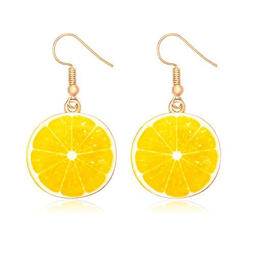 (MANZHEN Lemon Earrings Watermelon Earrings Cute Fruit Earrings Jewelry for Women (Lemon))