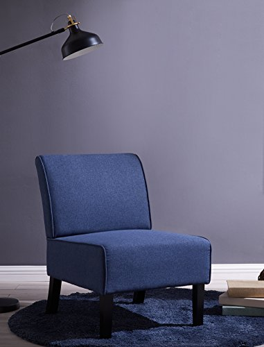 IDS Online MLM-18752-BL Armless Accent Chair Simplicity Style Living Room Single Sofa, Fabric Cover, Modern, Blue by IDS Online
