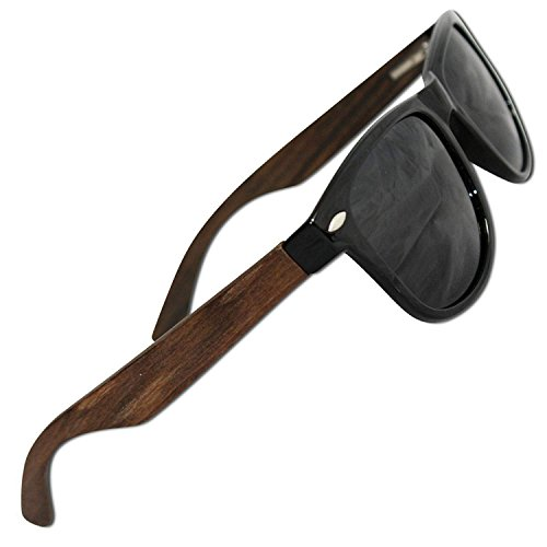 Polarized Wood Sunglasses for Men & Women with 100% UV Blocking, HD Lenses (Ebony Wood Temples | Glossy Black Front Frame | Grey High Defintion Polarized - Hard And Wayfarer Wood Sunglasses